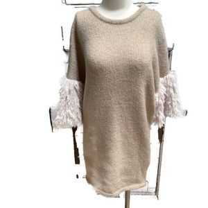 Romeo & Juliet Couture knit dress shag sleeves tan